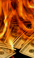 Screenshot of Dollars in Fire Live Wallpaper