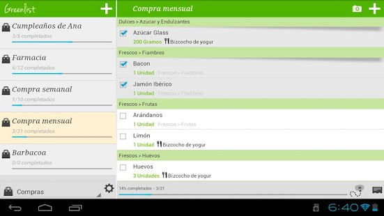 Grocery list - Greenlist - screenshot thumbnail