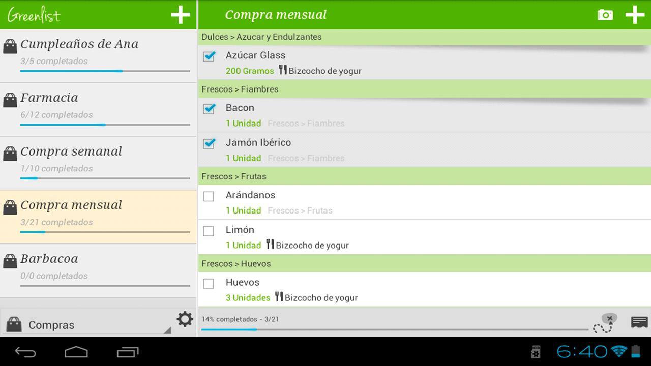 Grocery list - Greenlist- screenshot