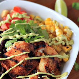 Grilled Tilapia Bowls with Chipotle Avocado Crema {Gluten Free}.