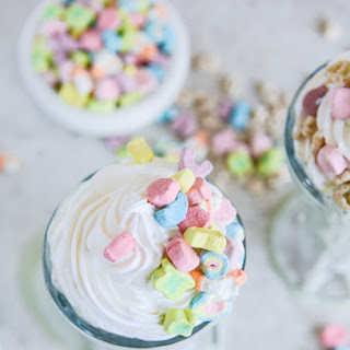 Boozy Lucky Charms Cereal Milkshakes with Marshmallow Frosting