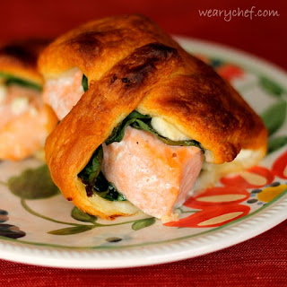 Salmon Crescent Rolls with Spinach and Feta