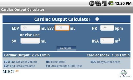MDCT Cardiac Output Calculator- screenshot thumbnail