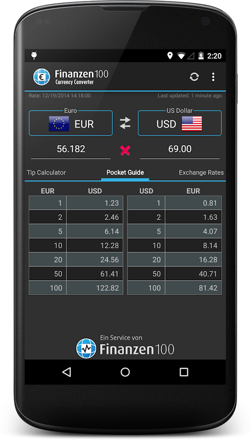 Currency Converter Finanzen100 - screenshot
