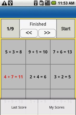 one digit addition- screenshot