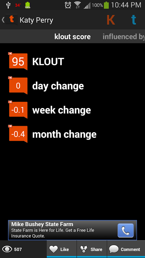 Twouter: Tweets + Klout - screenshot