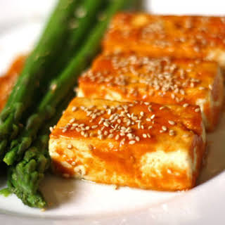 Broiled Tofu with Miso Glaze and Asparagus.