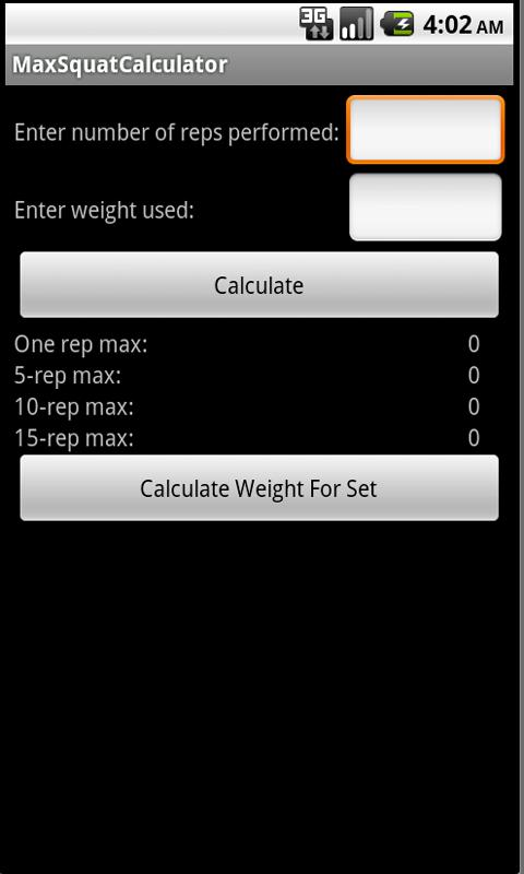 Max Squat Calculator - screenshot