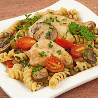 Chicken with Marsala, Tomatoes and Mushrooms.
