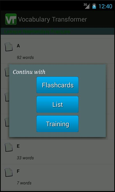 Vocabulary Transformer mobile- screenshot