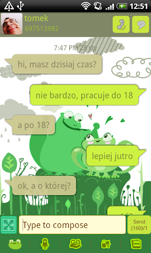 GO SMS Pro Love Frogs Theme