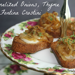 Caramelized Onions, Thyme & Fontina Crostini