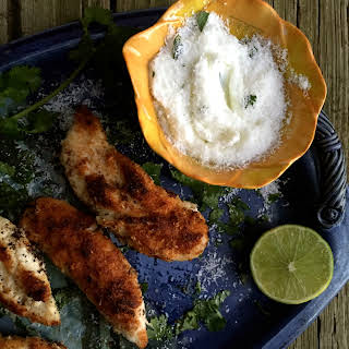 Coconut-crusted Chicken Tenders With Mayo-free Cilantro Lime Dip.