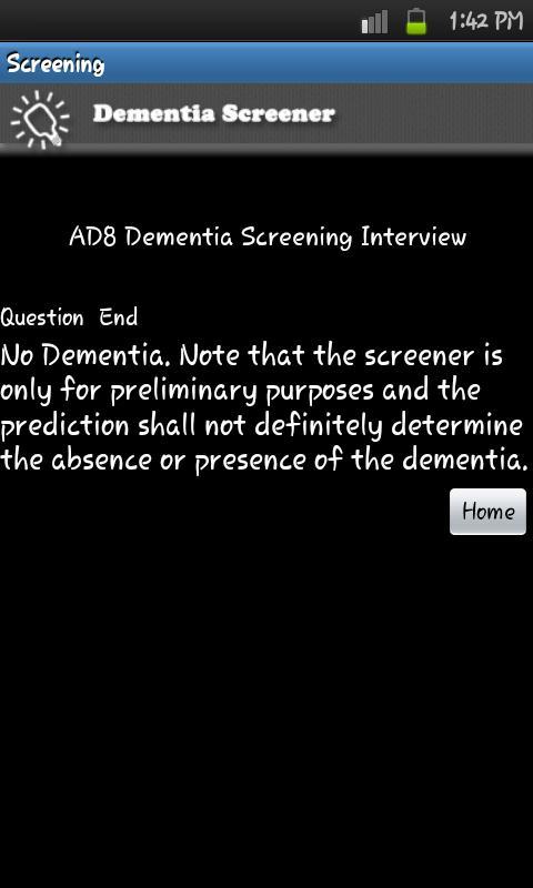 Dementia Screener- screenshot
