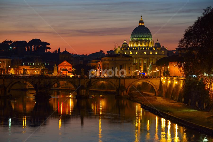 Sunset over St. Peter Basilica by Travis Pambu - City,  Street & Park  Vistas ( golden hour, sunset, sunrise, , city at night, street at night, park at night, nightlife, night life, nighttime in the city )