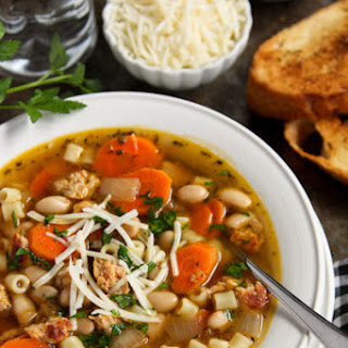 Italian Chicken Sausage Soup with White Beans.