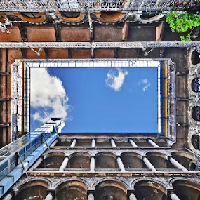 Budapest nose-up by Luigi Alloni - Buildings & Architecture Architectural Detail ( nose-up perspective building budapest courtyard )