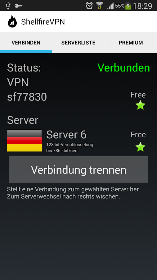 Shellfire VPN – Screenshot