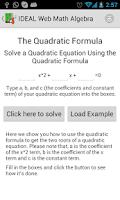 Screenshot of IDEAL Web Math Algebra