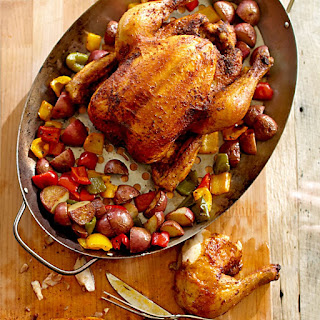 Grill-Roasted Chicken with Potatoes and Bell Peppers