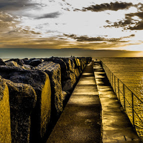 The Harbour Wall by Ryan Bedingfield - Landscapes Sunsets & Sunrises ( water, clouds, sky, hand rail, sea, sunrise, rocks, harbour wall )