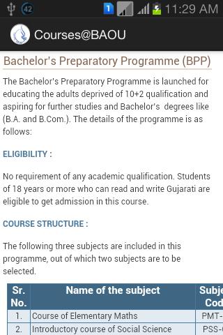 BAOU Courses
