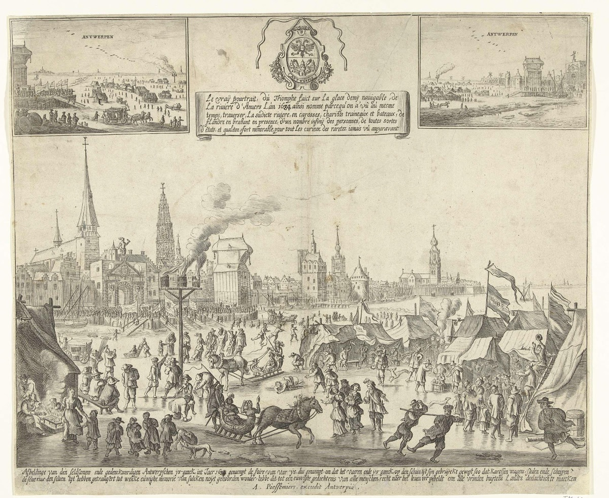 IJsvermaak op de bevroren Schelde te Antwerpen, 1684 - Anonymous, A.  Poessemiers — Google Arts & Culture