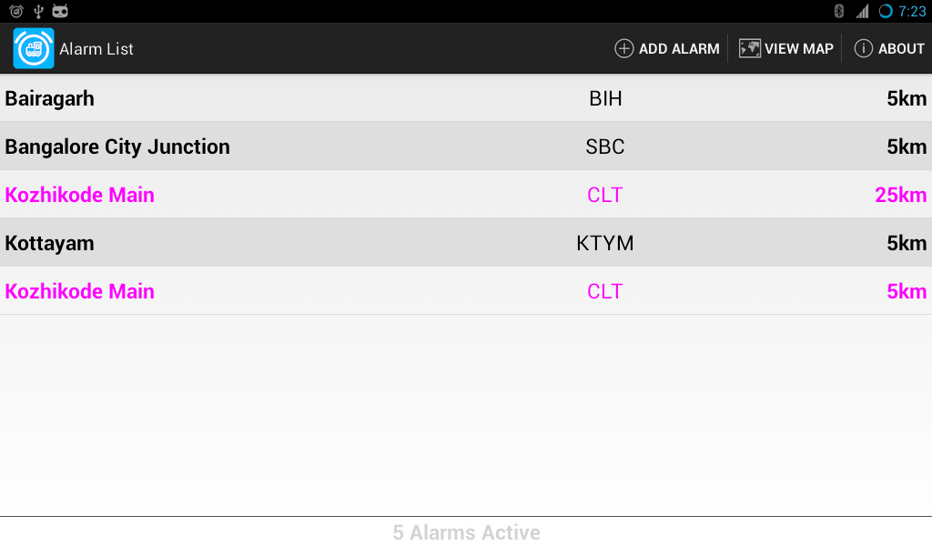 In Train Alarm- screenshot