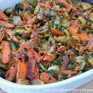 Brussel Sprouts and Carrots with Bacon.