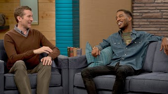 Kid Cudi Wears a Denim Shirt and Red Sneakers