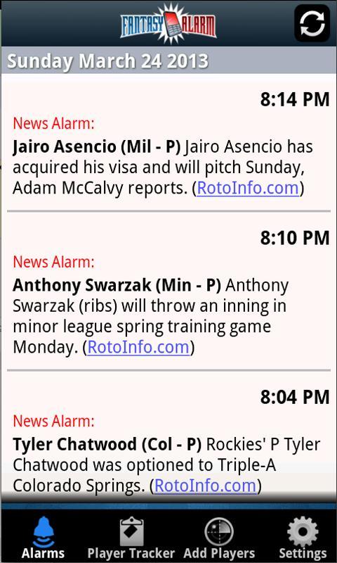 Fantasy Alarm Fantasy Baseball - screenshot