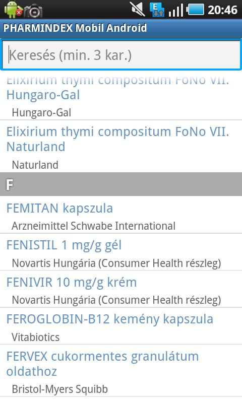 PHARMINDEX Mobil Android - screenshot
