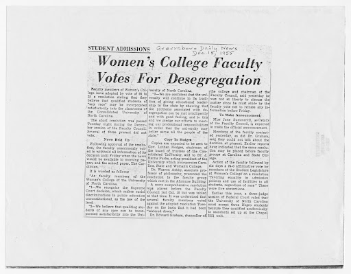 Women's College faculty votes for desegregation