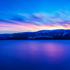 Dawn at Loch Ness by Aiden Ogden - Landscapes Mountains & Hills ( water, skyline, mountain, waterscape, colorful, colors, lakes, lake, loch, landscape, colour, mountains, dawn, sky, color, sunrise )