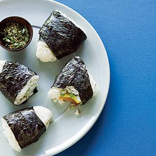 Smoked Salmon and Avocado Rice Triangles.