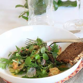 Fried Shrimp and Asparagus Salad.
