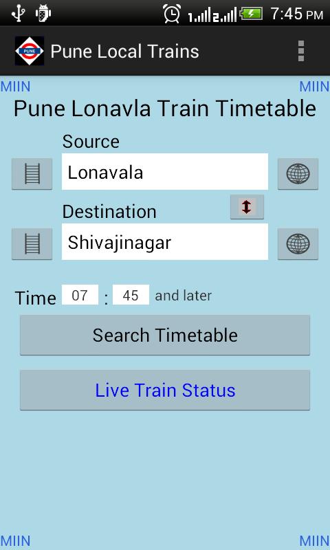Pune Local Train Timetable- screenshot