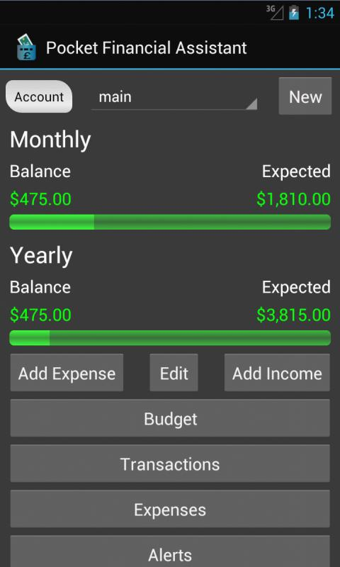 Pocket Financial Assistant - screenshot