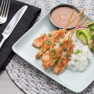 Chicken Sate with Peanut Sauce & Marinated Green Tomatoes Recipe