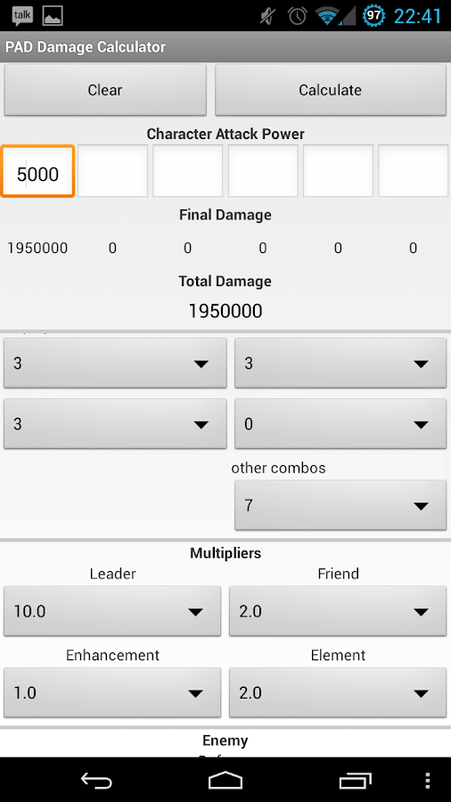 PAD Combo Damage Calculator- screenshot