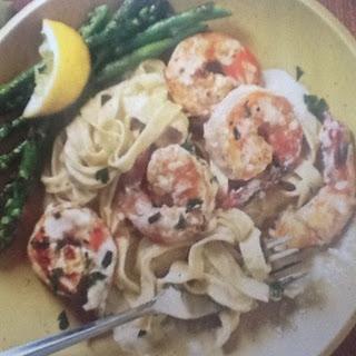 Shrimp Fettuccini Alfredo with Roasted Asparagus