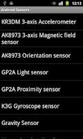 Screenshot of Sensors of Android