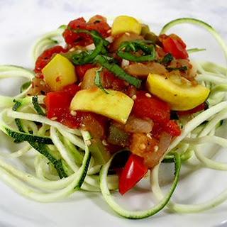 Zucchini Spirals with Fresh Vegetable Sauce.