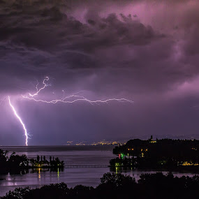 Thunderstorm by Joachim Unger - Landscapes Weather ( flash, thunderstorm, nature, mainau, germany, lake, bodensee )