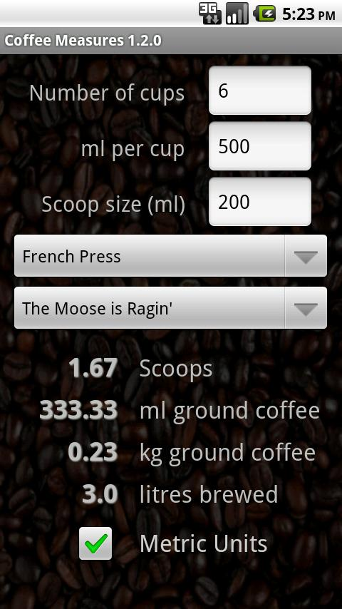 French Press Coffee Maker Demo : Coffee Measures - Android Apps on Google Play
