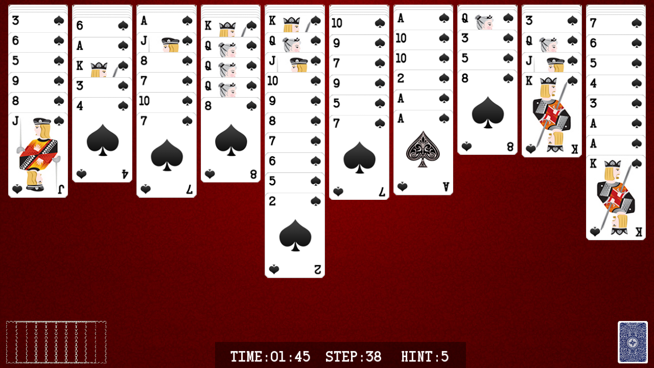 spider solitaire how to play with 2 decks miniature