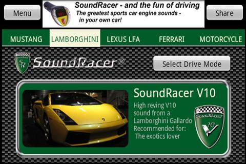 SoundRacer FREE Car Sounds- screenshot