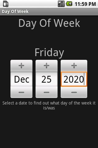 Day Of Week- screenshot