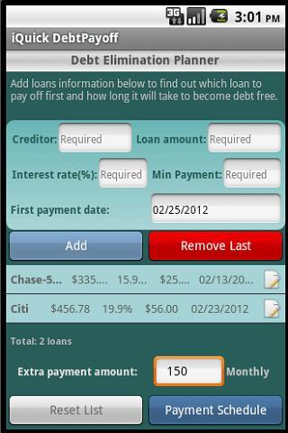 iQuick Debt Payoff- screenshot