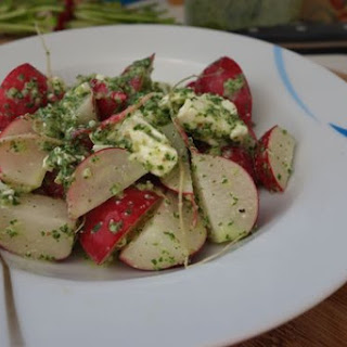 Double Radish Salad with Feta and Buttermilk Pesto Dressing.